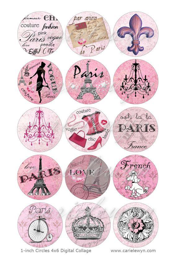 Bottlecap Paris Images / rose Français caniche Tour par carielewyn