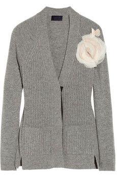 Lanvin Floral-appliquéd wool cardigan | NET-A-PORTER