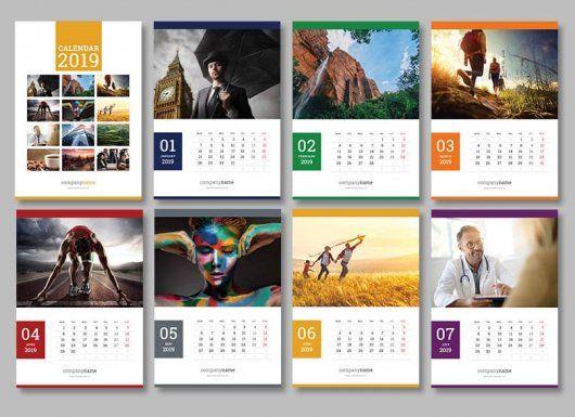 Hade Simple Wall Calendar Design 2019 And 2020 Template Psd Desain Grafis Kalender Desain