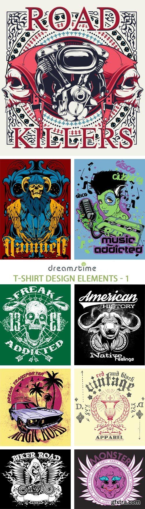 Shirt design elements - T Shirt Design Elements 1 25xeps