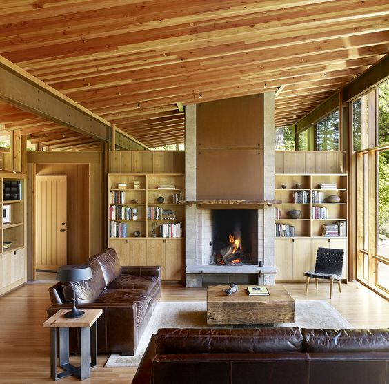 Steel structure and wooden interior of the stunning natural retreat