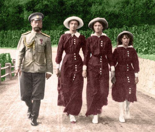 Nicholas out for a walk with 3 of his favorite people, Grand Duchess Tatiana, Grand Duchess Olga, and Grand Duchess Anastasia.
