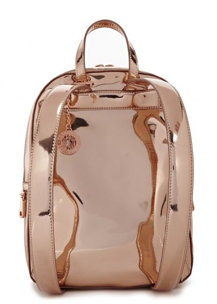 Rose gold leather backpack - Sale