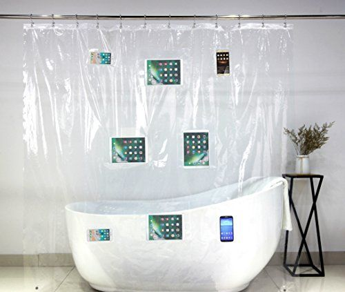 Phone Tablet Holder Shower Curtain Liner With Pockets