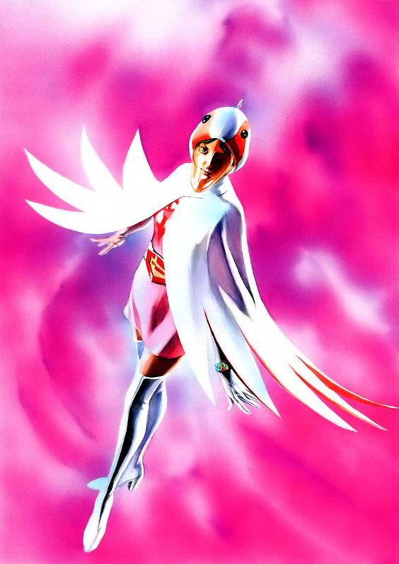ピンクの背景に佇む白鳥のジュンのかっこいい画像。