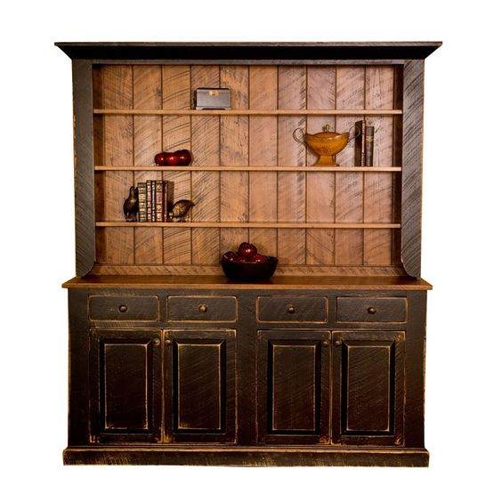 Rustic Kitchen Hutch: Black Pine Rustic Country Hutch