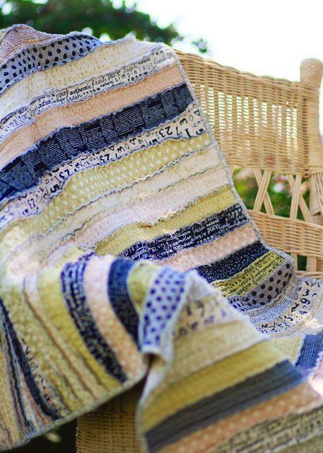 Quilt as you go, rag strip quilt.