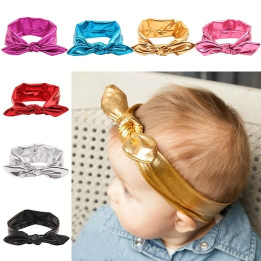 Baby Gilding Elastic Hair Bow Turban Knot Hoops Headbands and Girl's Fashion Soft Headbands
