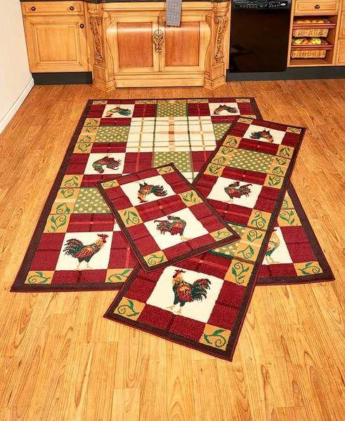 Country Rooster Rug Set Of 3 Accent Runner And Area