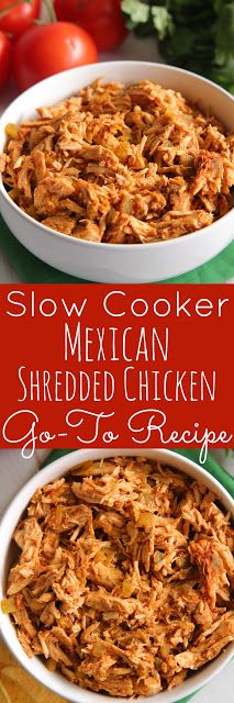 4-Ingredient Slow Cooker Mexican Shredded Chicken (Go-To Recipe) - This is a great basic recipe that can be used in so many different dishes.