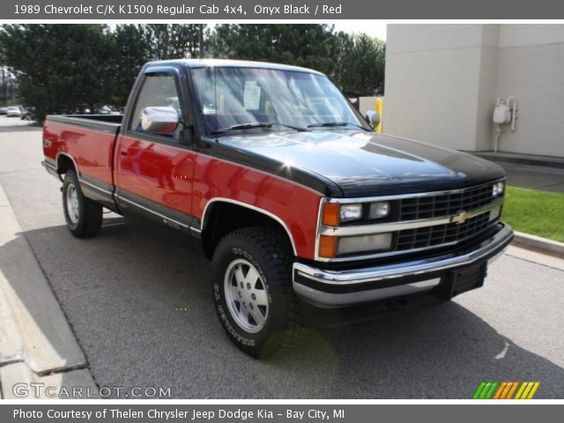Onyx Black 1989 Chevrolet C K K1500 Regular Cab 4x4 Red