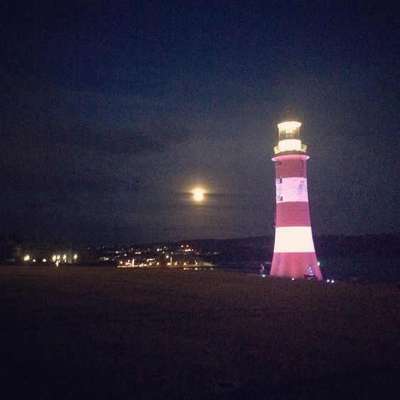 No Gods or Kings Only Man #lighthouse #night #moon #seaside