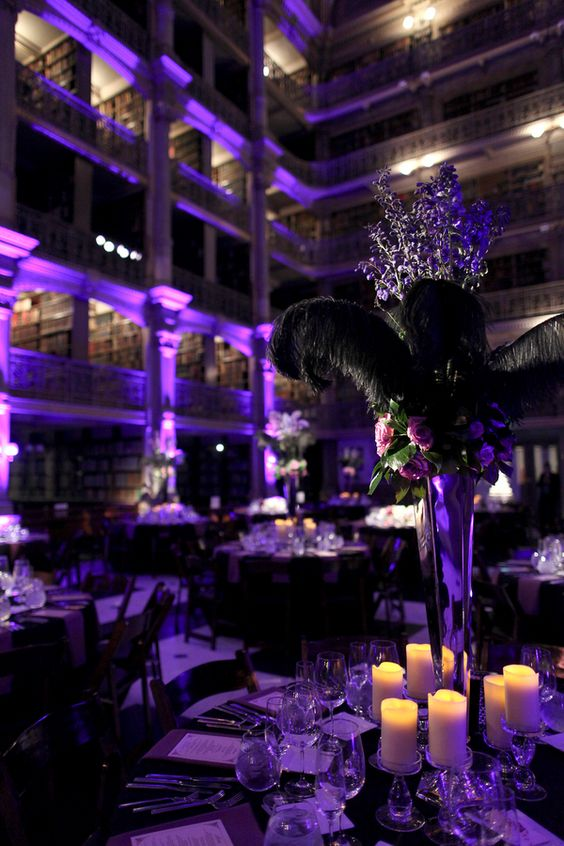 Purple And Black Wedding Reception With A Bunch Of String Lights All Around Andit Would Be Perfect