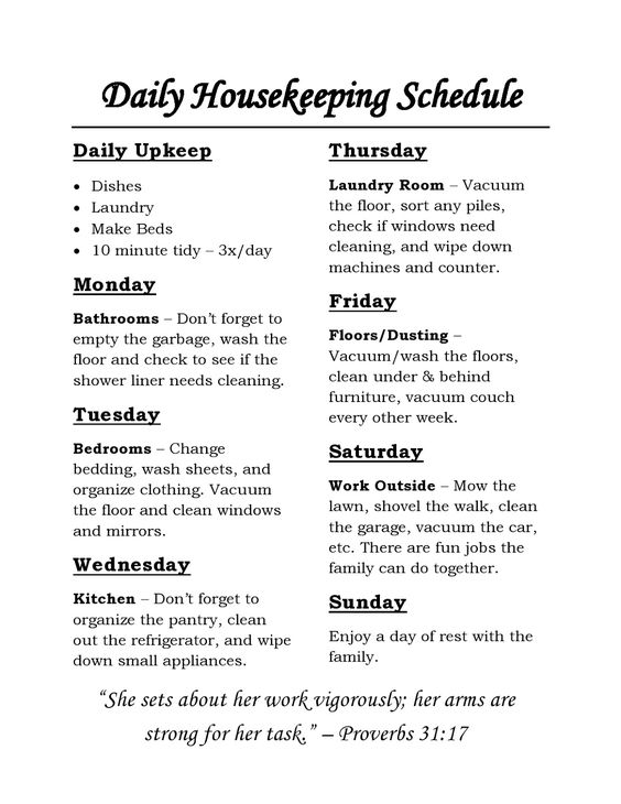 Housekeeping Schedule: chores for each day of the week and daily tasks that are simple and straight forward!