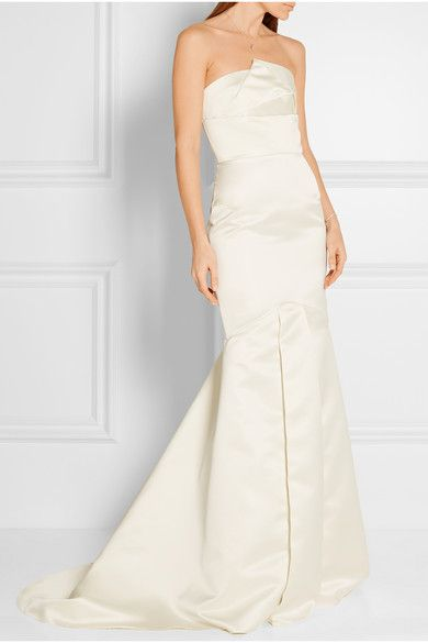 Roland Mouret Off-white satin Zip fastening along back 100% polyester; lining: 100% silk Dry clean Made in the UK
