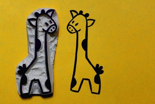 Giraffe Hand Carved Stamp