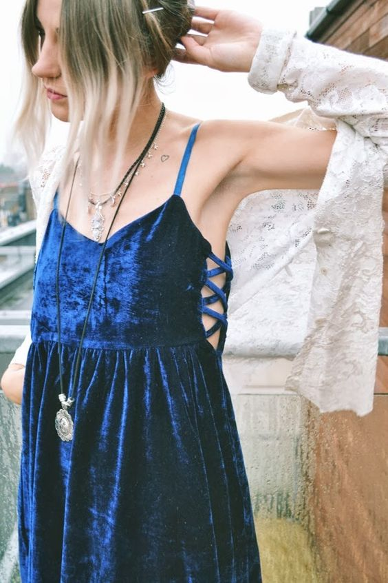 blue velvet dress lace tie up skinny girl fragile perfect wish i was her gorgeous thinspo