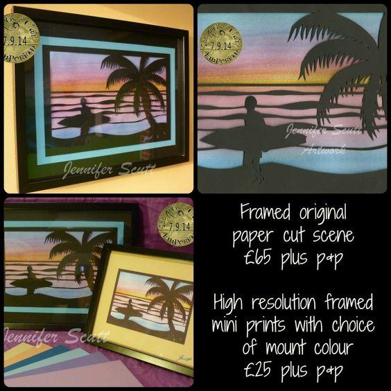 Framed original paper cut beach scene, designed and hand cut by Jennifer Scutt https://www.facebook.com/media/set/?set=a.852701888139764.1073741864.664237603652861&type=3
