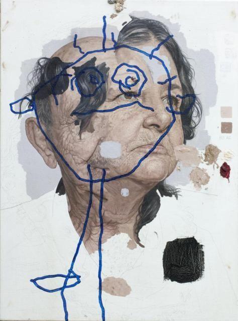 """COLN CHILLAG, 2012   """"Grandma Grandpa"""" (óleo sobre tela, 24 x 18 in)"""