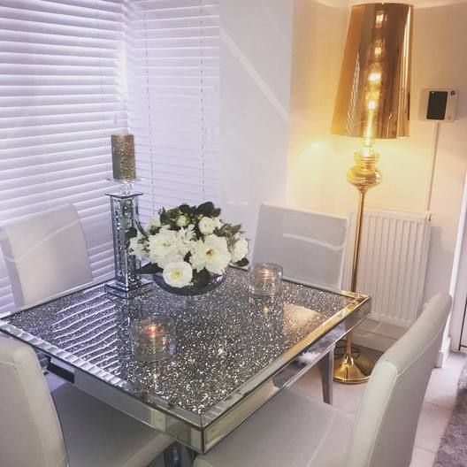 Diamond Crush Mirrored Dining Table Hos Home Mirrored