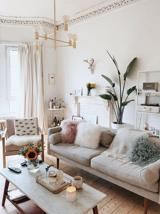 Neutral Home Decor Can Make Your Large Indoor Plants Shine! | Living Room Color, Minimalist Living Room, Living Room Colors