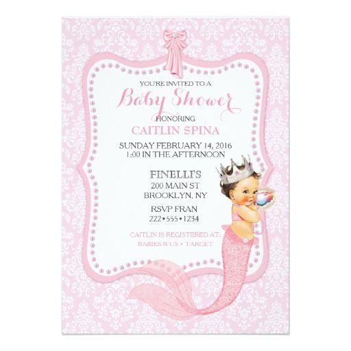 Baby Girl Mermaid Princess Crown Damask 5x7 Paper Invitation Card