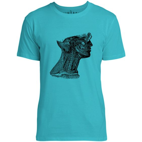 Mintage Arteries of the Neck Mens Fine Jersey T-Shirt (Teal)