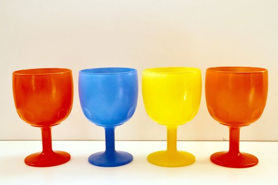 Colorful Thumbprint Goblets Sprayed Mid Century Mod Barware Beer Glasses Set of Four by digatomic on Etsy