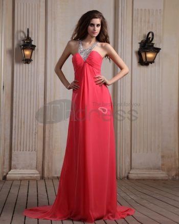 Long Evening Dresses-Chiffon Sleeveless Beading Halter Chapel Train Evening Dresses