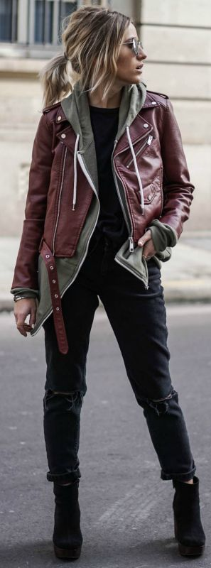 burgundy leather jacket | grey hoodie | black top | ripped black skinny jeans | black ankle boots