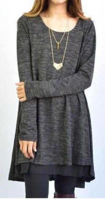 Love the Layers! Long Sleeve Grey  Scoop Neck Dress + Voile Skirt Suit For Women #Grey #Layered #Dress #Fashion