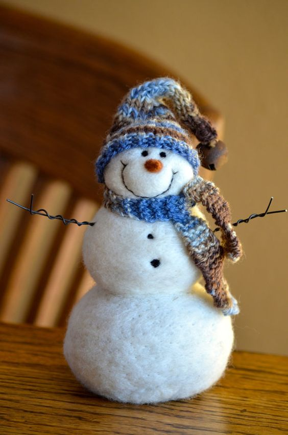 Snowman handmade Needle Felted wool Snowmen by BearCreekDesign
