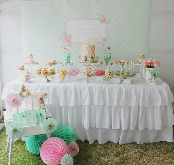 DESSERT TABLE at a Mint, Pink, and Gold Tea Party with So Many Really Cute Ideas via Kara's Party Ideas | KarasPartyIdeas.com #BridalShower #PartyIdeas #PartySupplies #TeaParty #DessertTable #RuffleTableCloth