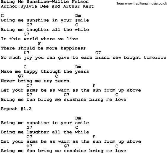 Guitar Chords Easy Country Songs: Country Music Song: Bring Me Sunshine-Willie Nelson Lyrics