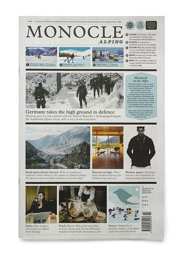 The Monocle Alpino newspaper is the sister publication of Monocle and covers news, current affairs, business and design. It is printed twice a year over the seasonal holiday periods in summer and winter.