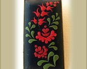Hungarian folk motif pendant- Polymer Clay jewelry- tulip flower motifs- Spring Flower Pendant- Black, Red, Green