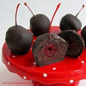 Sweet Chocolate Cherry Bombs - These are cake balls wrapped around maraschino cherries, dipped in dark chocolate.  They are beautiful!