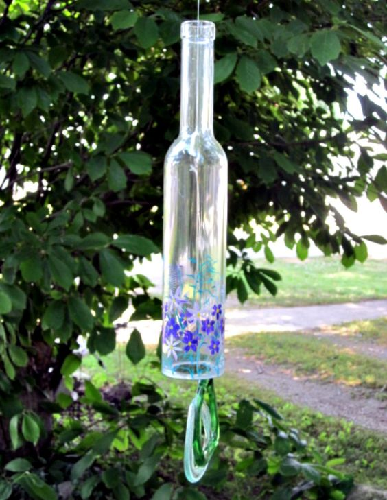 Recycled glass bottle wind chime purple flower garden for Recycled glass flowers