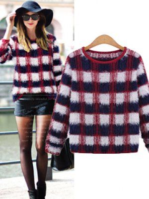 New Arrival 2014 Sweater Grid Pattern Long Sleeve Loose Top Short Mohair Sweater