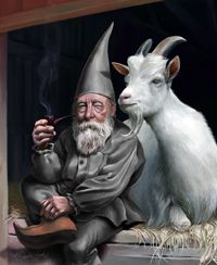 Elves Faeries Gnomes:  Tomte (#Gnome) with Goat.: