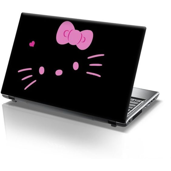 15'6 Inch Taylorhe laptop skin protective decal pink hello kitty ($11) ❤ liked on Polyvore featuring electronics, hello kitty, accessories, laptops and other