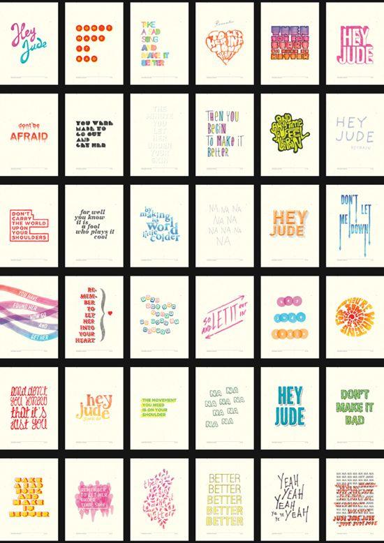 Illustrated Typography lyrics of Hey Jude by Stefano Agabio