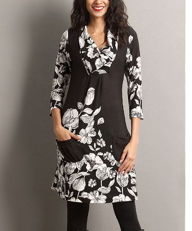 Another great find on #zulily! Black Floral Shawl-Collar Pocket Dress #zulilyfinds