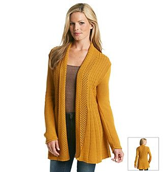 Notations® Open Front Shawl Collar Fishtail Cardigan