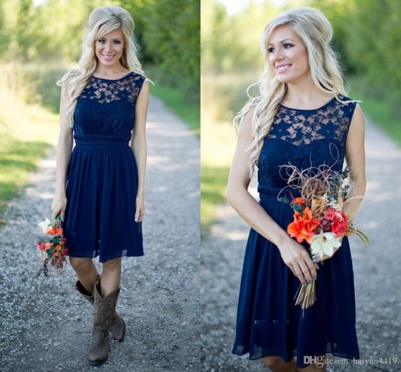 Cheap Country Bridesmaid Dresses 2016 For Weddings Illusion Neck Chiffon Lace Navy Blue Sash Party Knee Length Maid Honor Gowns Under 100 Online with $75.4/Piece on Haiyan4419's Store | DHgate.com