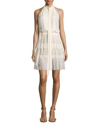 Sleeveless+Tie-Neck+Pleated+Dress,+Vanilla+by+Michael+Kors+Collection+at+Bergdorf+Goodman.