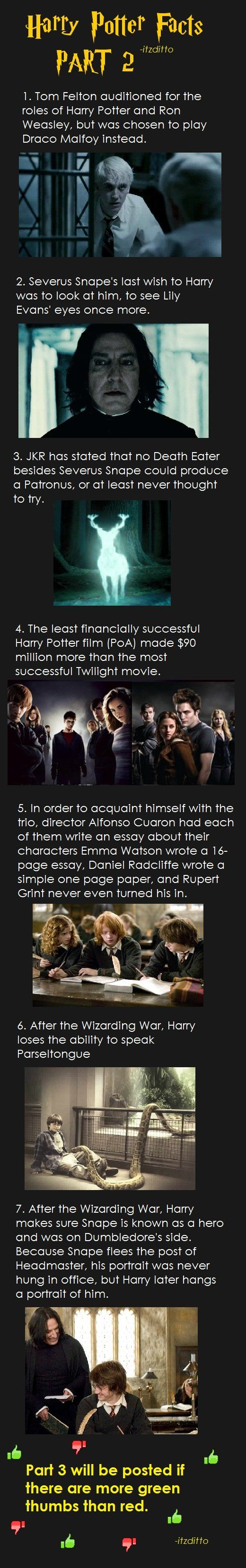 Harry Potter Facts Part 2 - Imgur  Aaaand... Tom Felton was chosen as Draco because he made the director's son cry.. :))