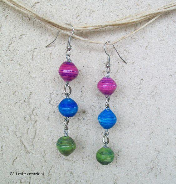Orecchini con perle di carta tecnica quilling  http://it.artesanum.com/artigianato-orecchini_di_perle_di_carta-60532.html