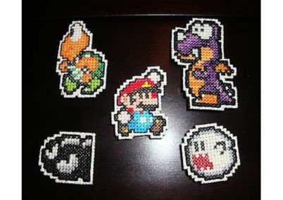 For the video game lover: a completed cross stitch Nintendo Super Mario Bros. Magnet Set #scottsmarketplace