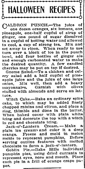 "Halloween recipes published in the Idaho Statesman newspaper (Boise, Idaho), 20 October 1912. Read more on the GenealogyBank blog: ""Old Halloween Recipes from Our Ancestors' Kitchens."" http://blog.genealogybank.com/old-halloween-recipes-from-our-ancestors-kitchens.html"
